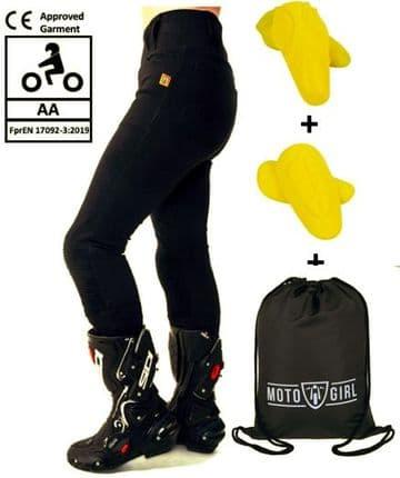 Moto Girl Ladies Aramid Lined Motorcycle Motorbike Ribbed Knee Leggings - Black